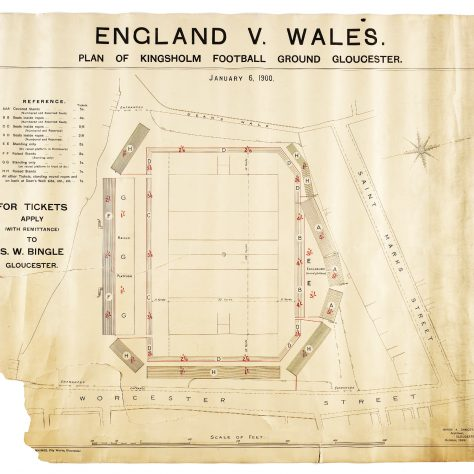 Seatin gplan for the 1900 England v. Wales match at Kingsholm