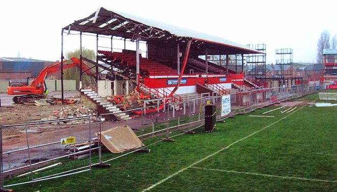 Kingsholm grandstand demolition, 2007