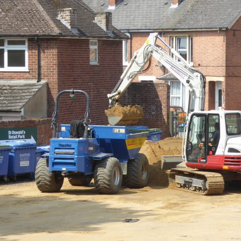 The pile of sand in the western car park is reducing at last!
