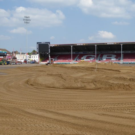 There is still a lot to be done to achieve a consistent level of sand across the whole of the pitch area.