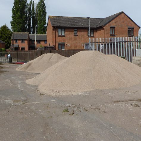 Three lorry loads of gravel to be used in the new drainage system have arrived.