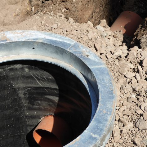 New drainage pipes, 150mm diameter whereas the old ones were 100mm, entering the chamber..
