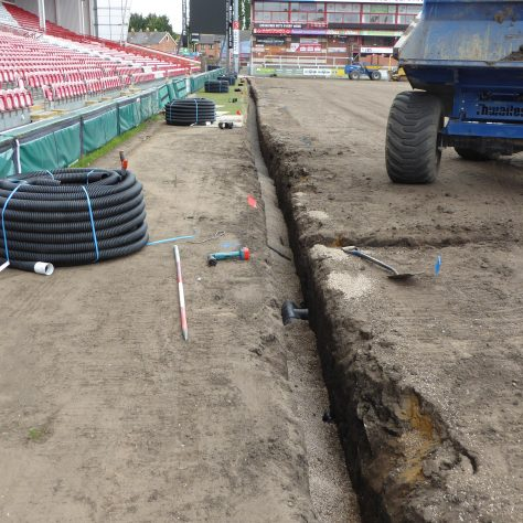 The 150mm diameter drain running east to west by the main grandstand has been completed.