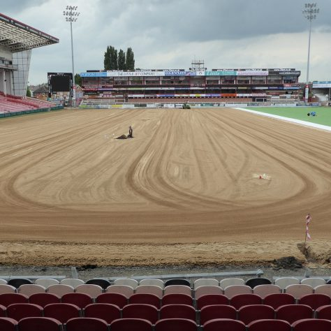 Looking towards the Western terrace showing the raked surface still to be filled with matting.