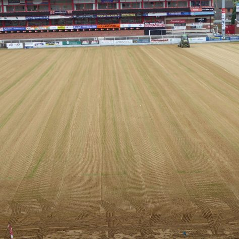 View from the East Stand showing the tracks laid by the seed sower.