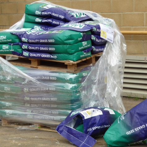 Pallets containing 25 bags of seed - not all for us though..