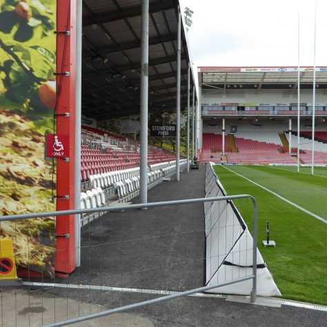 Refurbished walkway in front of the East stand.