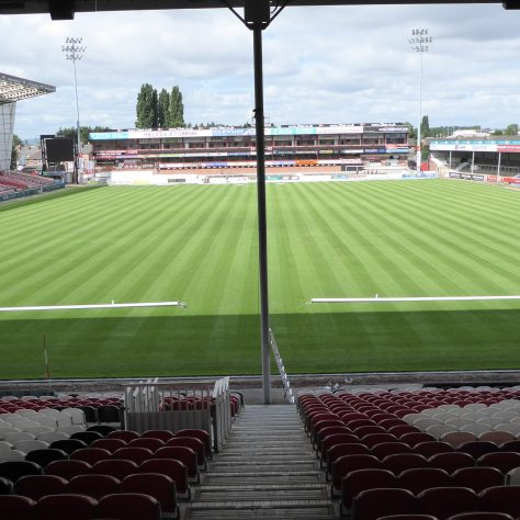 View from the east stand showing posts ready to be erected and the 1m wide mowing strips.