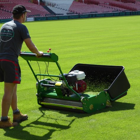 First use of the new cylinder mowers.
