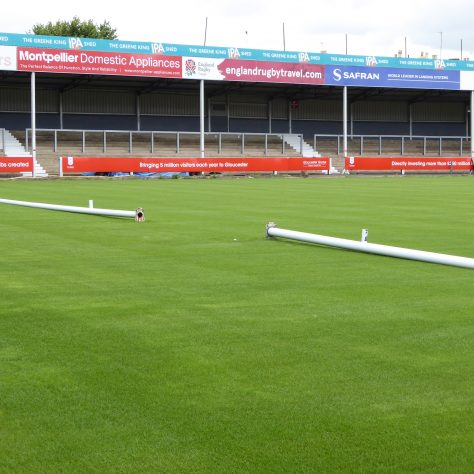 Posts at west end of the ground ready to be erected.