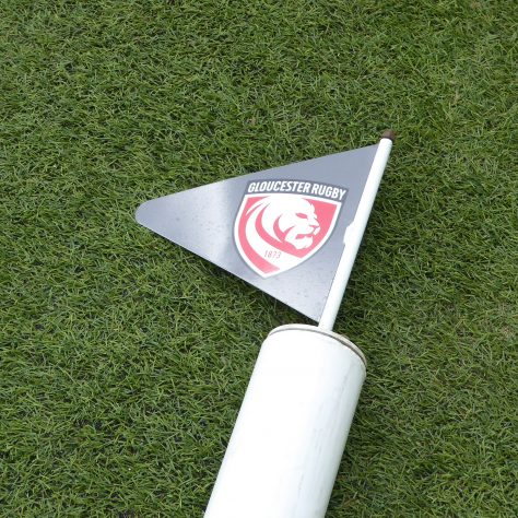 New club logo features on the flags at the top of the posts.