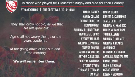 "1914-1918 Gloucester Rugby ""#ThankYou100"""