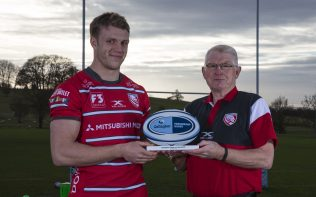 Pictured is Ron Etheridge, presenting the Gallagher Premiership Player of the Month award for November 2018 to Gloucester Rugby's, Ollie Thorley, Monday 10th December 2018 at Hartpury Training Ground,