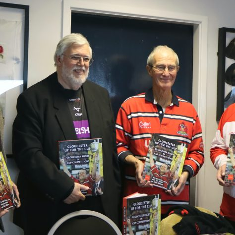 Dick Williams, Malcolm King,  Chris Collier,  Clive Major (all Gloucester Rugby Heritage Charity Trustees). | (c) Linda King