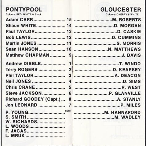 Teams on 7 Nov 1992