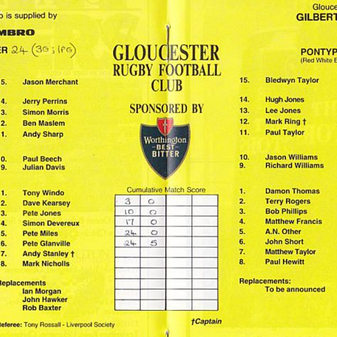 Teams on 4 Feb 1994
