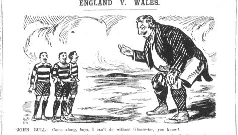 1910 England Team - Cartoon