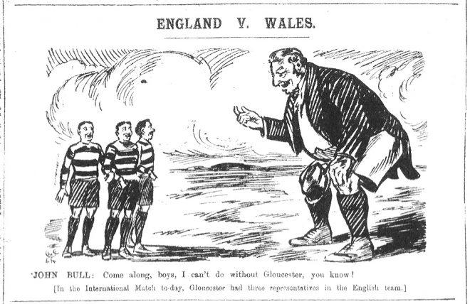 1910 England Team - Cartoon