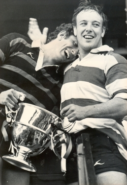 The one that got away. Moseley and Gloucester captains share the cup - the one thing that Gloucester didn't win in 1981-82