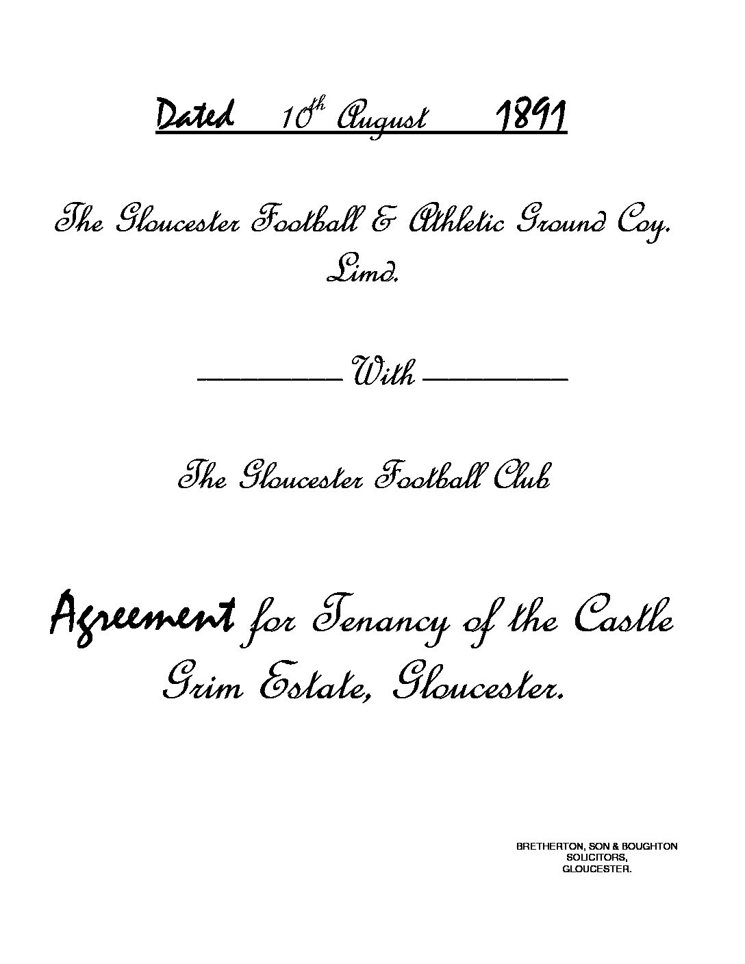 1891: Agreement for the Tenancy of the Castle Grim estate