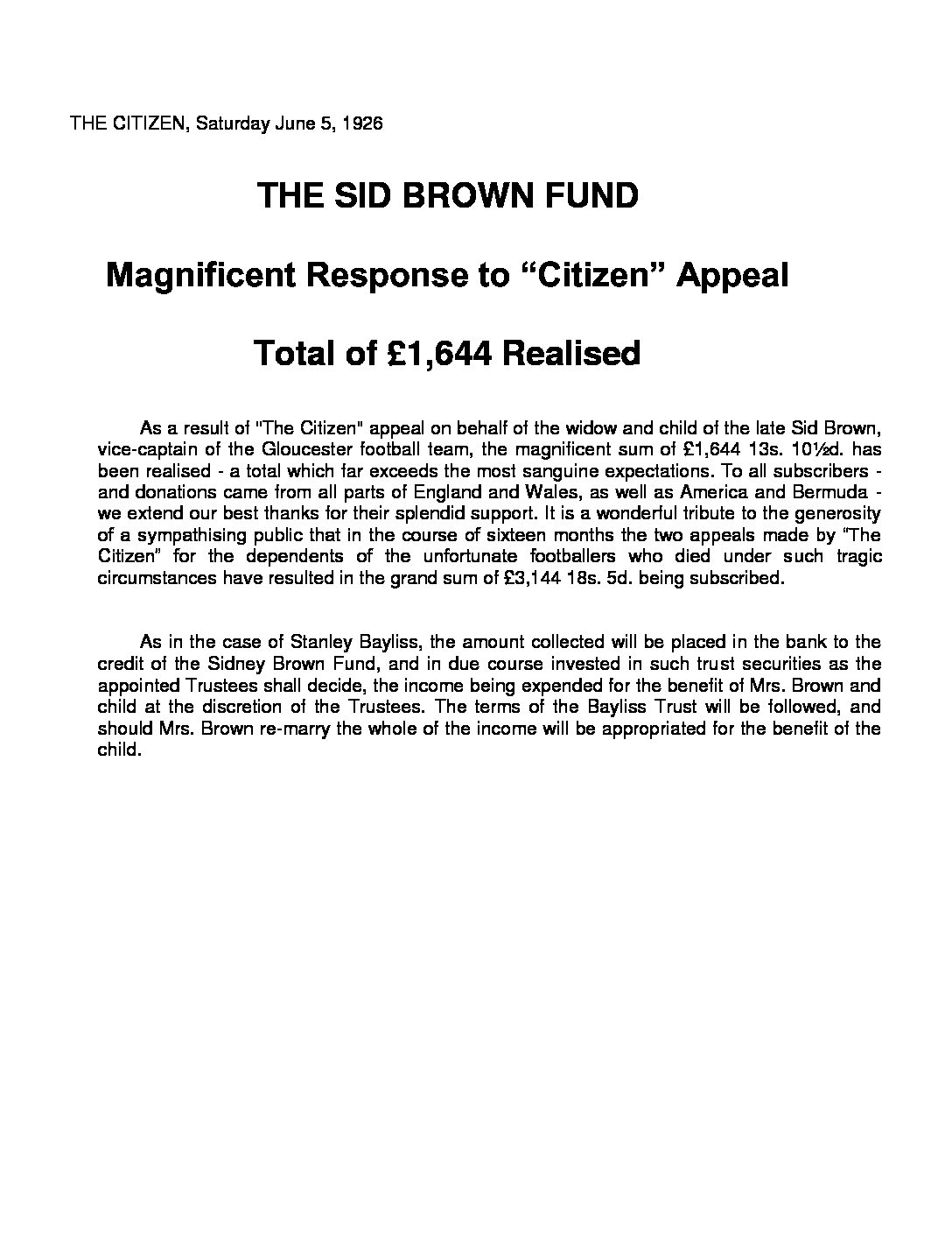 The Sid Brown Fund