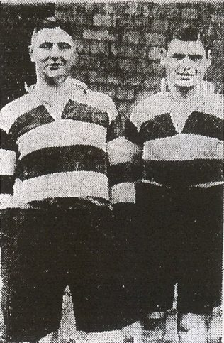 John A'Bear and Roy Morris, Gloucester's heavyweight second row forwards, who each tip the scales at 15st!