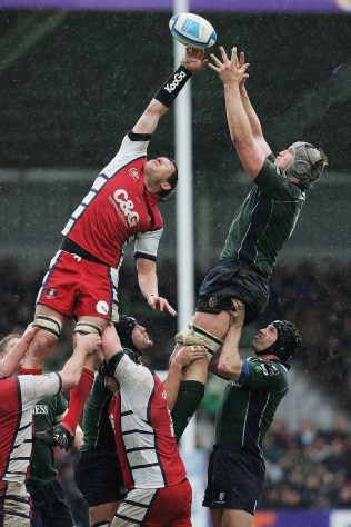 James Forrester soars in the lineout against London Irish