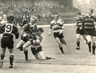 John Bayliss tackles Sam Doble of Moseley in 1972 Cup Final