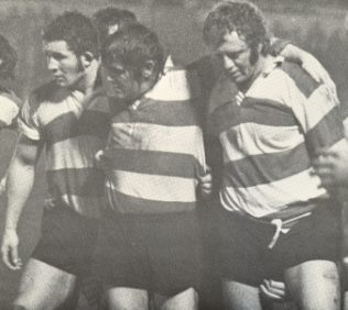 Phil Blakeway, Fred Reed & Keith Richardson form the Gloucester front row | Steve Colling - GRFC 1975 Calendar