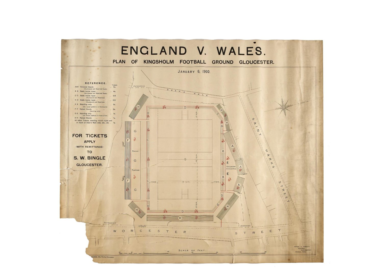6 Jan 1900: Kingsholm Seating Plan