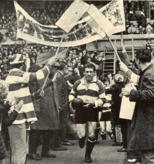 The first RFU club knock-out final 1972. Mike Nicholls leads Gloucester out under an arch of elver nets | Rugby World