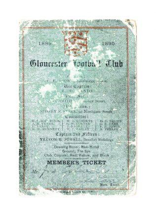 1889-90 Member's Ticket