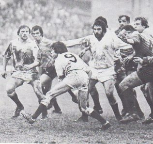 Peter Kingston gets the ball away v Lancashire 1980