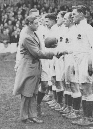 Saxby (second from right) is presented to the Prince of Wales before the England v South Africa game 1932