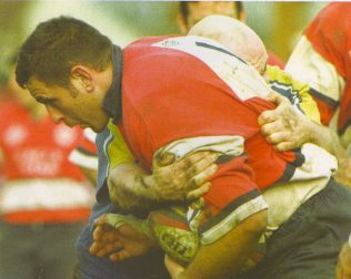 Tony Windo on the charge for Gloucester.........