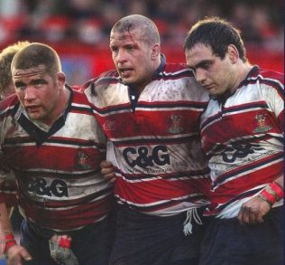 The Gloucester front row: Vickery, Fortey and Woodman