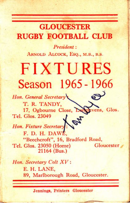 Tom Voyce autograph on a 1965/66 fixture list